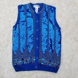 Vintage sequin sweater vest blue gold button M